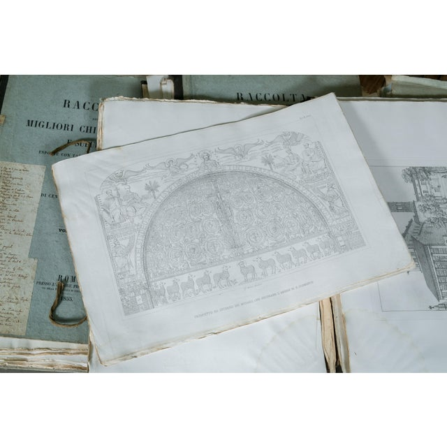 White Rare 19th Century Collection of Architectural Etchings of Roman Churches For Sale - Image 8 of 11