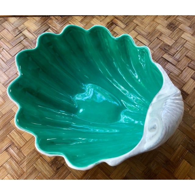 Palm beach regency! Large white ceramic shell for Portugal. Celadon green inside. Would make an excellent catchall,...