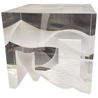 Contemporary Modern Steven Weinberg Cast Glass Cube Sculpture