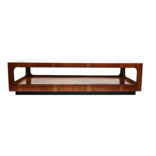 Lane Walnut and Smoked Glass Coffee Table For Sale