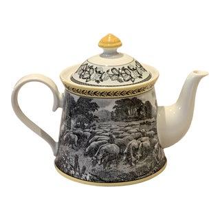 Yellow and Gray Villeroy & Boch Audubon Ferme Pattern Teapot For Sale