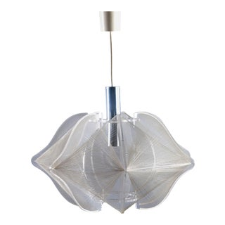 Mid Century Modern Lucite and String Hanging Light Fixture For Sale