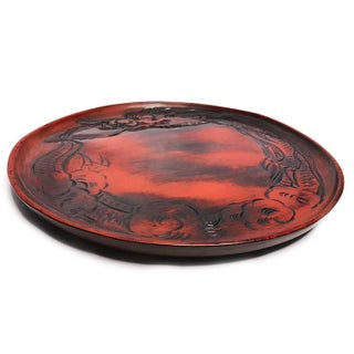 Vintage 1940s Hand Carved Imperial Dragon in Red and Brushed Black Wood Plate / Tray Preview