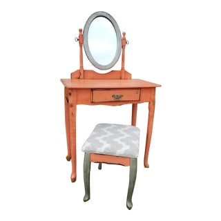 Antique Queen Anne Esque Makeup Vanity & Stool