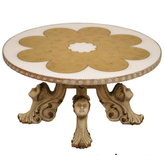 1960s Hollywood Regency Figural Carved Faces Gold Leaf Round Coffee Table For Sale - Image 11 of 11