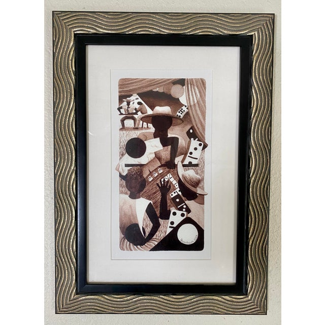 "2000 - 2009 ""Domino Tones"" Offset Lithography Framed & Matted Print by Lynne Bernbaum For Sale - Image 5 of 5"