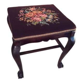 1930s Vintage Tall Floral Needlepoint Clawfoot Footstool For Sale