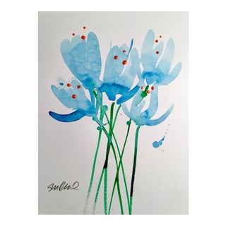 """Blue Buds"" Watercolor Painting"