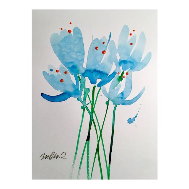 """""""Blue Buds"""" Watercolor Painting For Sale"""