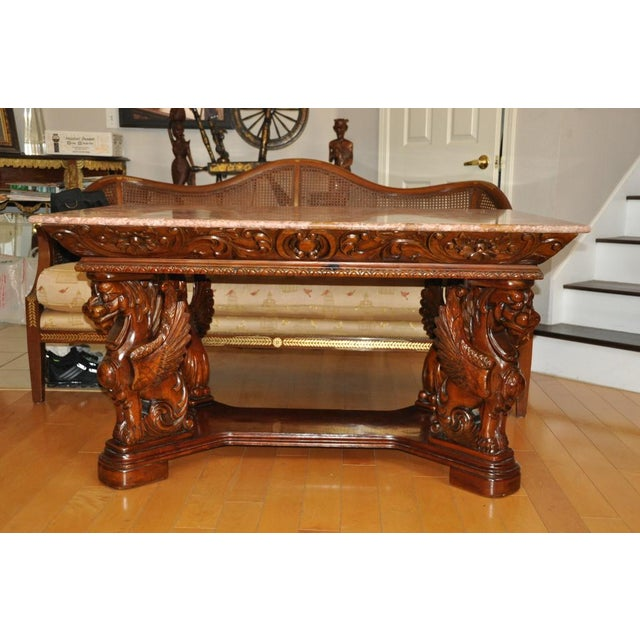 Red Vintage Renaissance Style Wood Carved Winged Griffin Table and Pink Granite Top For Sale - Image 8 of 13