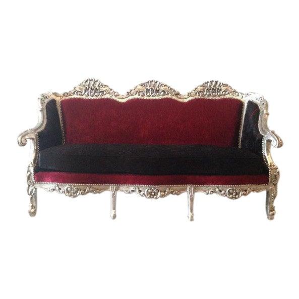 Red & BlackVelvet Baroque Sofa - Image 1 of 8