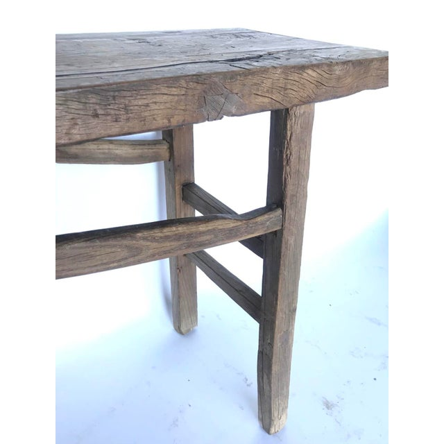 19th Century Rustic Elm Wood Console / Altar Table With Curved Stretchers For Sale - Image 5 of 7