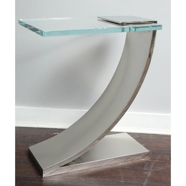 """Polished nickel and glass custom """"Z"""" side table."""