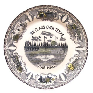 Vintage Six Flags Over Texas Souvenir Plate For Sale