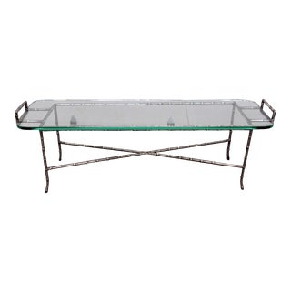20th Century Regency Bagues Faux Bamboo Glass Top Coffee Table For Sale