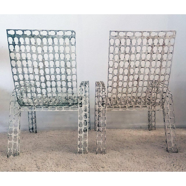 1970s Folk Art Pressed and Welded Steel Lounge Chairs - a Pair For Sale - Image 4 of 8