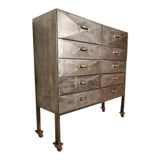 Industrial Ten-Drawer Metal Cabinet