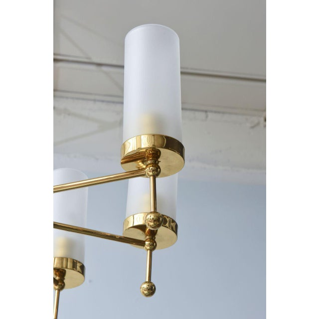 Brass Italian Modern Brass and Glass Eight-Light Chandelier in the Manner of Stilnovo For Sale - Image 7 of 9