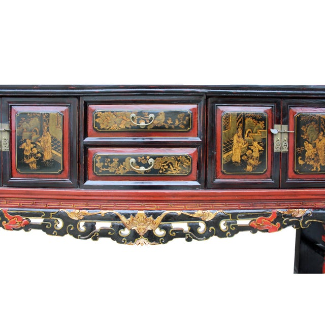 Chinese Fujian Golden Graphic Sideboard Console Table Tv Cabinet For Sale - Image 9 of 10