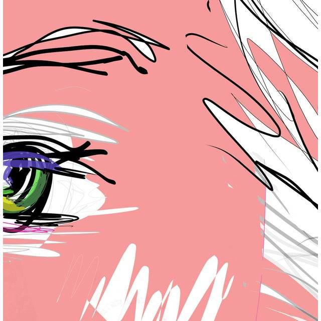 """Figurative """"Pink Lady"""" by Trixie Pitts Original Print on Heavy Paper For Sale - Image 3 of 13"""