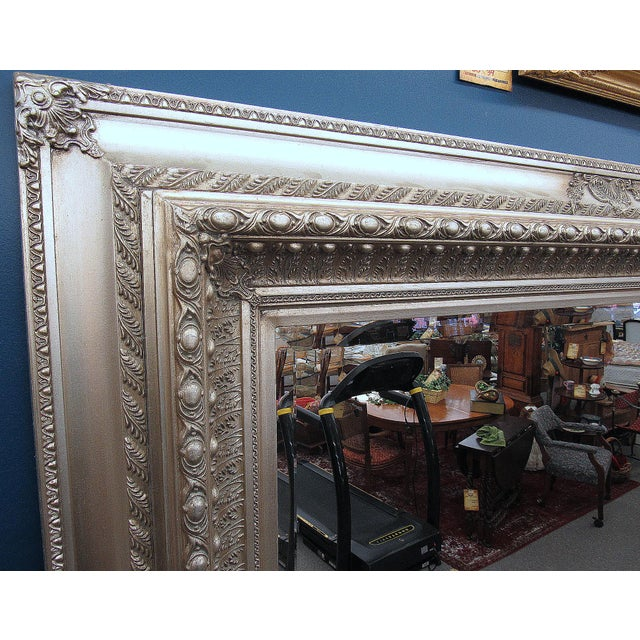 """2000s 89"""" High Silver Gilded Beveled Glass Floor Mirror For Sale - Image 5 of 12"""