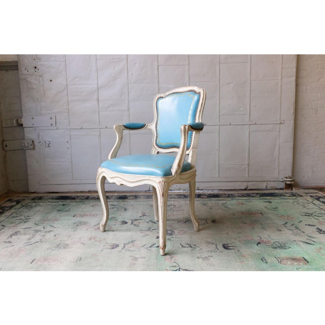 1960s Louis XV Style Blue Leather Armchairs - Set of 4 For Sale - Image 4 of 12