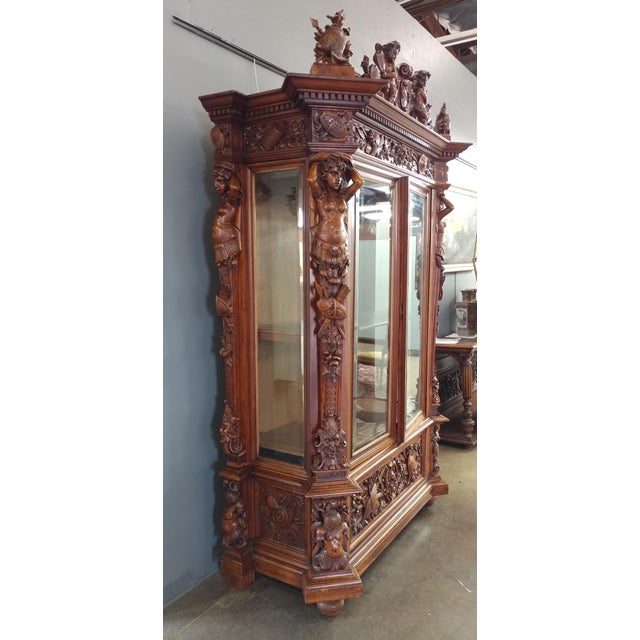 "19th century ""Highly carved"" Italian Renaissance Bookcase bookcase - Image 10 of 10"