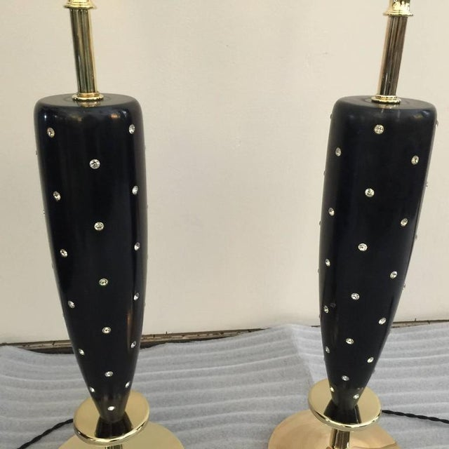 1950s Pair of Mid-Century Rhinestone Studded Lamps by Rembrandt For Sale - Image 5 of 7