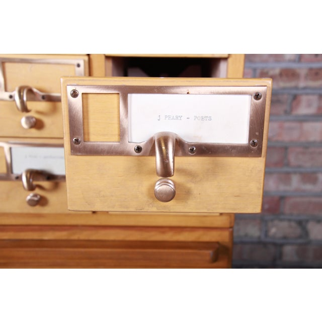Brown Mid-Century Modern 35-Drawer Library Card Catalog by Remington Rand For Sale - Image 8 of 13