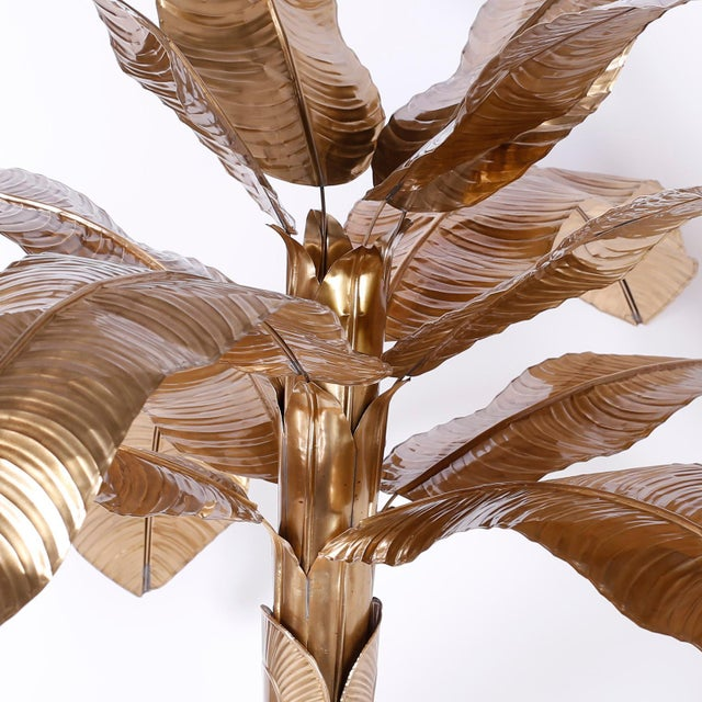 Mid-Century Modern Midcentury Brass Palm or Banana Tree For Sale - Image 3 of 9