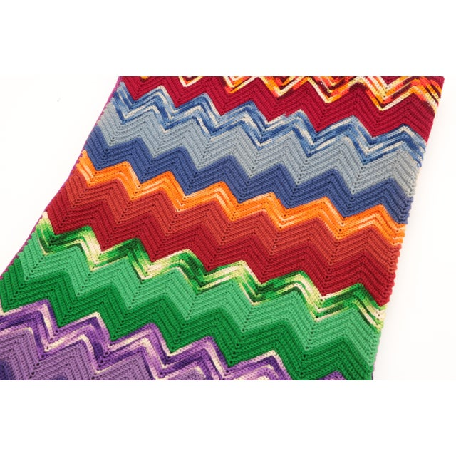 Mid-Century Modern Vintage Chevron Afghan For Sale - Image 3 of 7