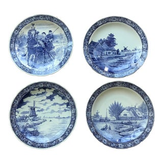 Mid 20th Century Delft Hand Painted Ceramic Platter / Wallhanging - Set of 4 For Sale