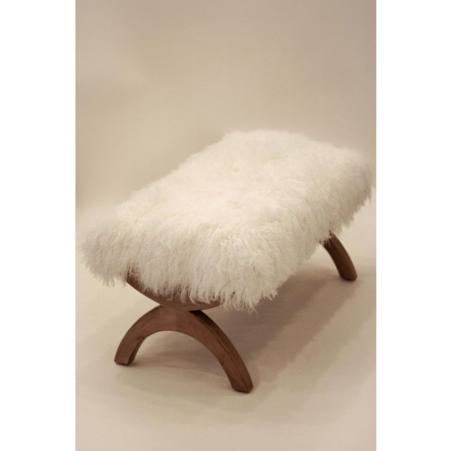 "Curly JJ 36"" Bench Warm White Tibetan Lamb (aka Mongolian lamb) seat on alder wood frame. Made by fine crafts people using..."