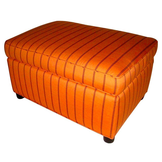 Mid-Century Orange Upholstered Ottoman - Image 1 of 5