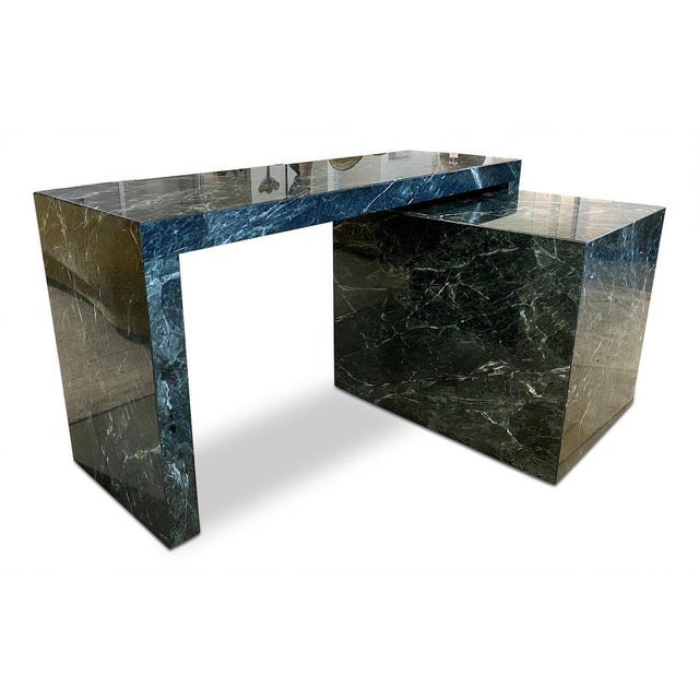 Italian 1970s Italian Green Marble Desk With Return For Sale - Image 3 of 6
