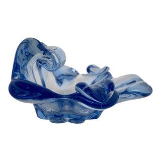 Murano Summeroso Blown Glass Blue Ashtray For Sale