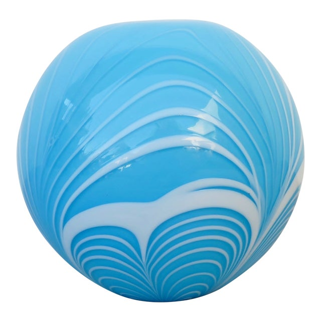 Tiffany Blue Blown Glass Witch Ball For Sale