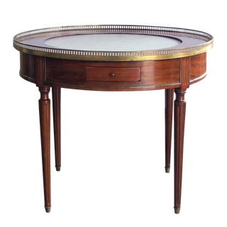 A Tailored French Louis XVI Style Mahogany 2-Drawer Bouillotte/Center Table With Inset Marble Top For Sale