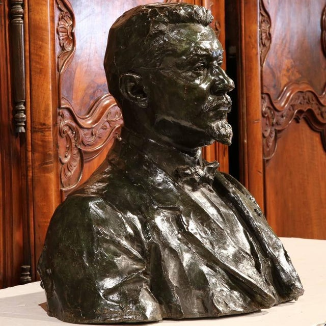 "Large 20th Century French Bronze Bust Signed ""A. Descatoire"", 1913 - Image 5 of 8"