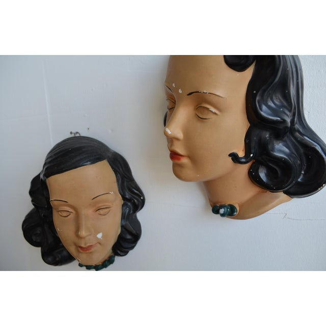 Mid Century Women's Face Masks - a Pair For Sale - Image 10 of 13