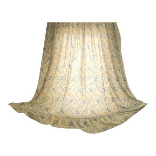 Antique 1860s French Shabby Chic Country Faded Blue Floral Curtain Drape For Sale