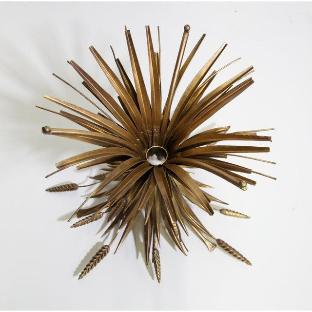 Vintage French Metal Sheaf of Wheat Side Table with Glass Top For Sale - Image 9 of 10