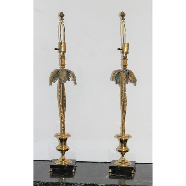 Vintage Maison Jansen Style Palm Tree Table Lamps - a Pair For Sale - Image 9 of 11