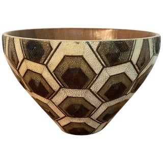 French Modern Shagreen, Bronze and Wood Bowl by R&y Augousti For Sale