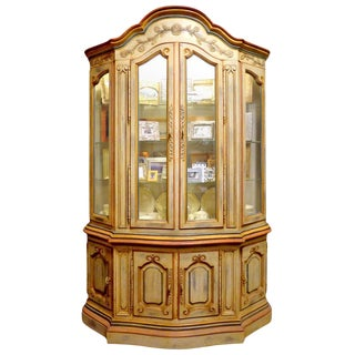 Delightful Country French Painted China Closet For Sale