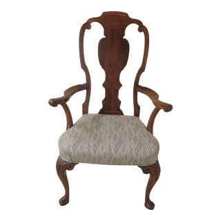 1970s Vintage Custom Walnut English George III Style High Back Arm Chair For Sale