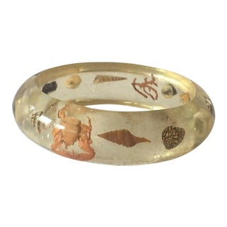 1950s Lucite Real Sea Life Embedded Bangle For Sale