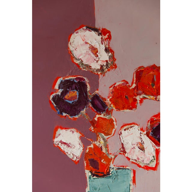 "2020s Bill Tansey ""Mixed White Orange & Purple Bouquet"" Abstract Floral Oil on Canvas For Sale - Image 5 of 5"