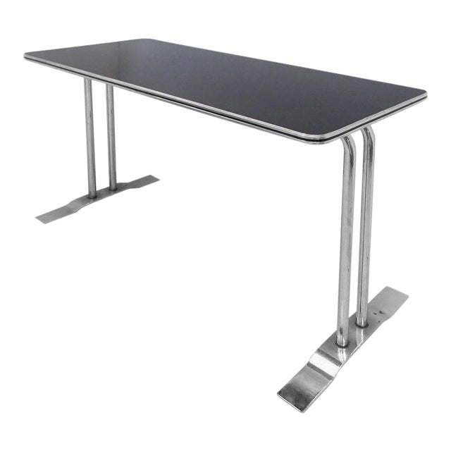 Art Deco Streamline Chrome Writing Table or Console Table For Sale