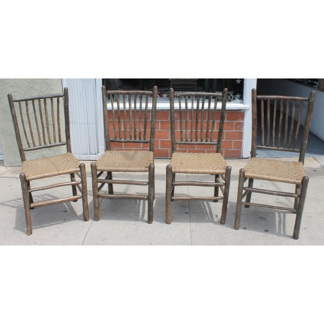 Rustic Hickory Dining Chairs - Set of 4 - Image 2 of 10